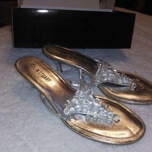 Size 11, Sliver Dress Sandals w/ Kitten Heel